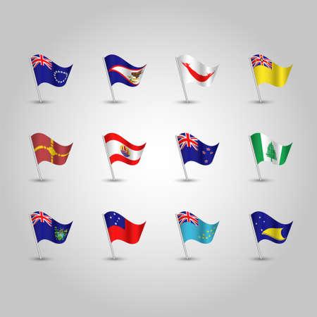 vector set of waving polynesian flags on silver pole - icon of states american samoa, cook islands, easter island, french polynesia, new zealand, niue, norfolk island, pitcairn islands, samoa, tokelau, tuvalu and rotuma