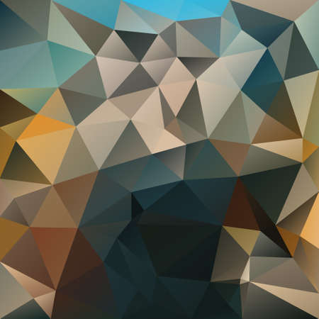 vector abstract irregular polygon square background - triangle low poly pattern - color indigo blue, ochre, beige, blue, gray, brown