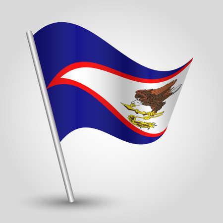 vector waving simple triangle samoan flag on slanted silver pole - symbol of american samoa with metal stick Ilustração