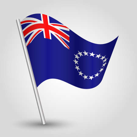 vector waving simple triangle islander flag on slanted silver pole - symbol of cook island with metal stick