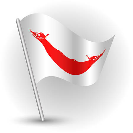 vector waving simple triangle islander flag on slanted silver pole - symbol of easter island with metal stick