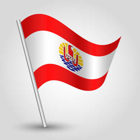vector waving simple triangle polynesian flag on slanted silver pole - symbol of french polynesia with metal stick