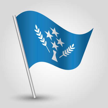 vector waving simple triangle kosraean flag on slanted silver pole - symbol of kosrae with metal stick Ilustração