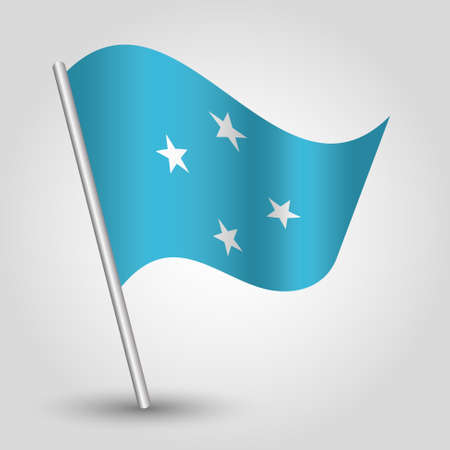 vector waving simple triangle micronesian flag on slanted silver pole - symbol of federated states of micronesia with metal stick Ilustração
