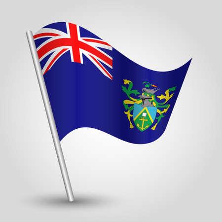 vector waving simple triangle islander flag on slanted silver pole - symbol of pitcairn island with metal stick Ilustração