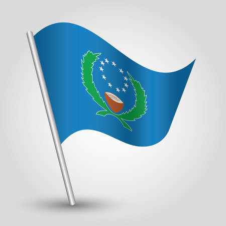 vector waving simple triangle pohnpeian flag on slanted silver pole - symbol of pohnpeia with metal stick Ilustração