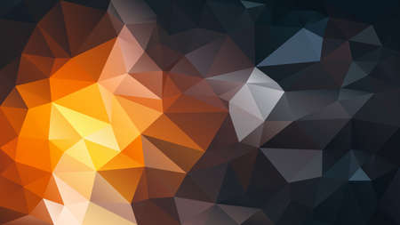 vector abstract irregular polygon background - triangle low poly pattern - fiery yellow orange brown night black color