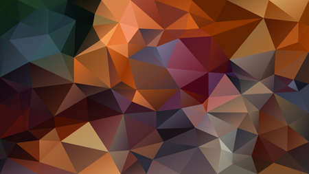 vector abstract irregular polygon background - triangle low poly pattern - brown camel ochre orange purle green blue color   Ilustração