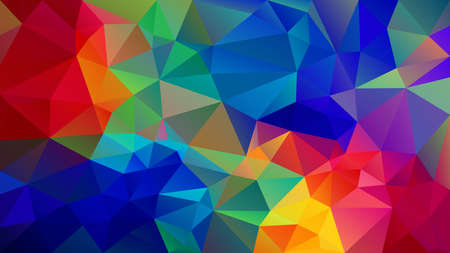 vector abstract irregular polygon background - triangle low poly pattern - vibrant neon full spectrum multi color rainbow