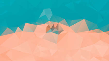 vector abstract irregular polygon background - triangle low poly pattern - teal turquoise blue and salmon pink orange color