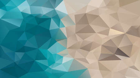 vector abstract irregular polygon background - triangle low poly pattern - teal ocean blue and sand beige color Иллюстрация