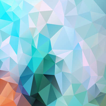 vector abstract irregular polygon square background - triangle low poly pattern - color arctic blue mint green orange  Ilustração