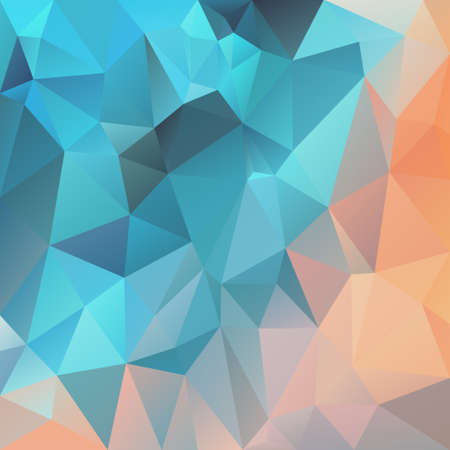 vector abstract irregular polygon square background - triangle low poly pattern - color teal blue and peach orange