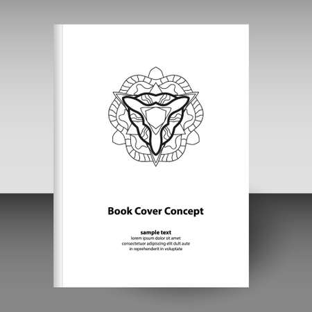 vector cover of diary or notebook hardcover - format A4 layout brochure concept - black and white abstract mandala line art icon