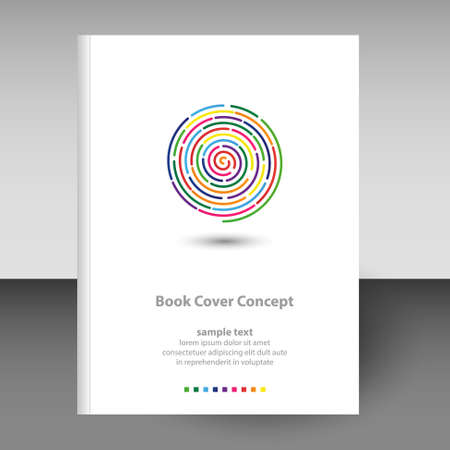 vector cover of diary or notebook hardcover - format A4 layout brochure concept - full color rainbow spiral finger print icon line art