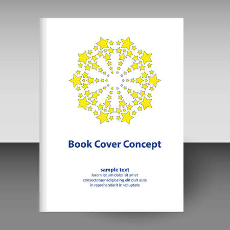 vector cover of diary or notebook hardcover - format A4 layout brochure concept - round mandala with yellow stars and blue text