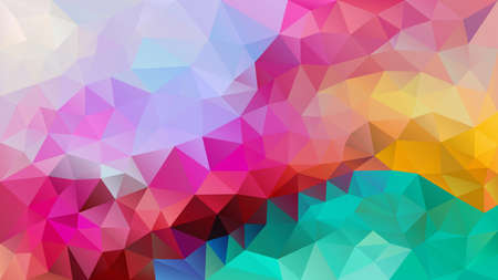 vector abstract irregular polygon background - triangle low poly pattern - neon full spectrum multi color rainbow magenta mint green yellow purple violte pink red blue