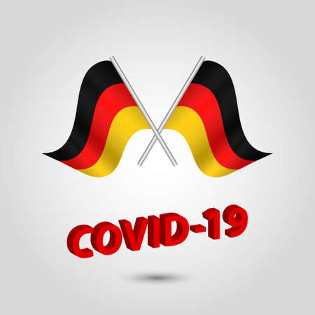 vector set two waving crossed flags of germany on silver pole - german icon with red 3d text title coronavirus covid-19