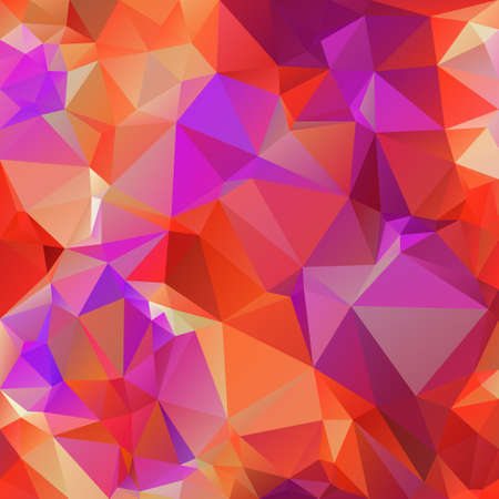vector abstract irregular polygon square background - triangle low poly pattern - vibrant neon color orange red pink purple violet Illustration