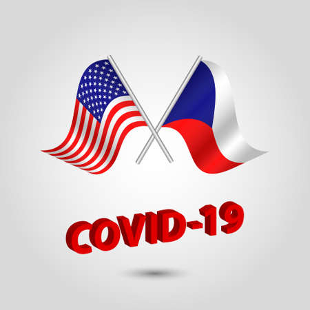 vector set two waving crossed flags of usa and czechia on silver pole - american and czech republic icon with red 3d text title coronavirus covid-19