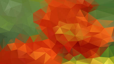 vector abstract irregular polygon background - triangle low poly pattern - color orange red and natural leafy green