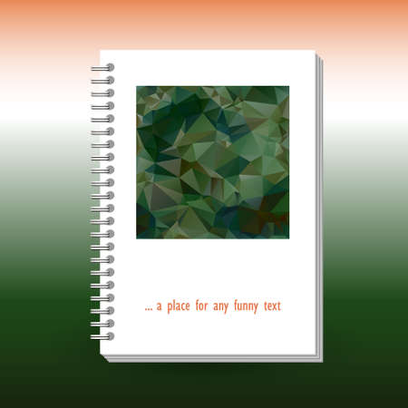 vector cover of diary, notebook or book with ring spiral spine binder - format A5 - layout brochure concept - military green khaki and orange colored with polygonal triangle pattern