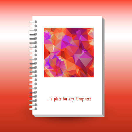 vector cover of diary, notebook or book with ring spiral spine binder - format A5 - layout brochure concept - orange red pink colored with polygonal triangle pattern Stock Illustratie