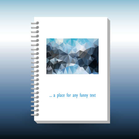vector cover of diary, notebook or book with ring spiral spine binder - format A5 - layout brochure concept - sky blue and mountain grey colored with polygonal triangle pattern Stock Illustratie