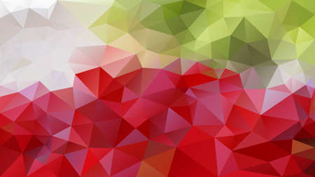 vector abstract irregular polygon background - triangle low poly pattern - color vibrant red fresh lime green old pink grey white Stock Illustratie