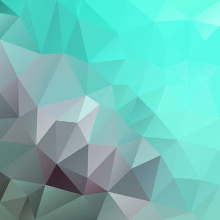 vector abstract irregular polygon square background - triangle low poly pattern - color neon cyan mint green aqua grey