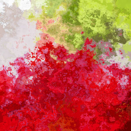 abstract stained pattern texture square background red lime green grey color - modern painting art - watercolor splotch effect Stockfoto