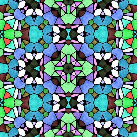 mosaic kaleidoscope jewel seamless pattern texture background - multi colored with black grout - blue, green, orange, purple, pink, khaki, brown