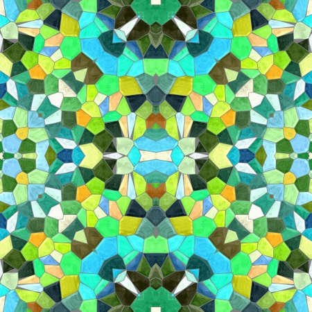 mosaic kaleidoscope jewel seamless pattern texture background - multi colored with grey grout - green, blue, khaki, orange, brown, yellow, brown Stockfoto