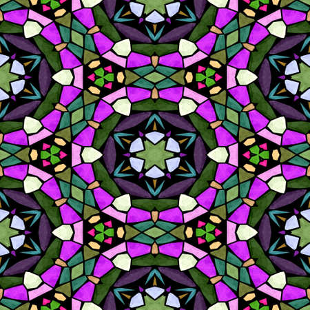 mosaic kaleidoscope jewel seamless pattern texture background - multi colored with black grout - green, khaki, purple, pink, violet Stockfoto