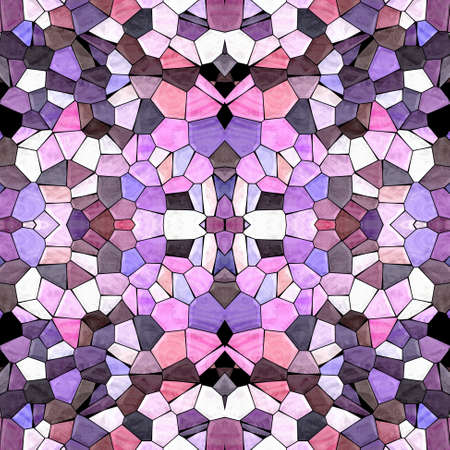 mosaic kaleidoscope jewel seamless pattern texture background - pastel colored with black grout - pink, purple, violet, mauve, brown