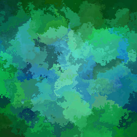 abstract stained pattern texture square background forest green sky blue color - modern painting art - watercolor splotch effect