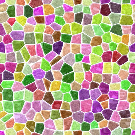 surface floor marble mosaic pattern seamless square background with white grout - pastel color spectrum - green, pink, purple, violet, mauve, brown Stockfoto