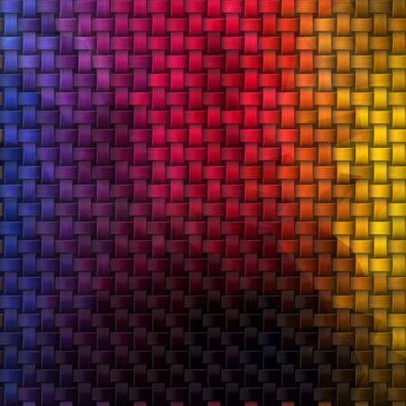 woven rattan wicker weave seamless knit pattern texture background - dark rainbow color spectrum Stockfoto