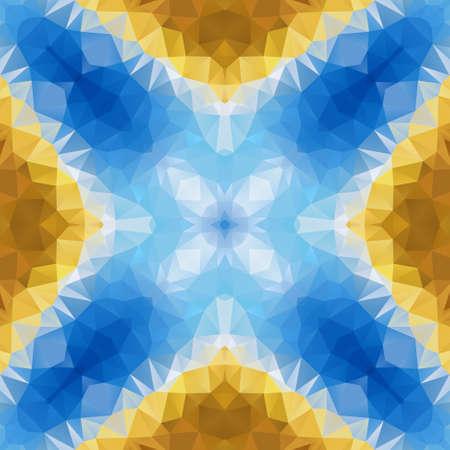 mosaic kaleidoscope jewel seamless pattern texture background - color blue and gold ocher yellow Stockfoto