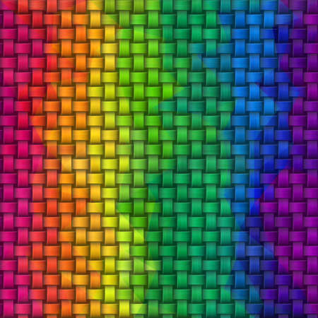 woven rattan wicker weave seamless knit pattern texture background - vibrant vertical rainbow full color spectrum