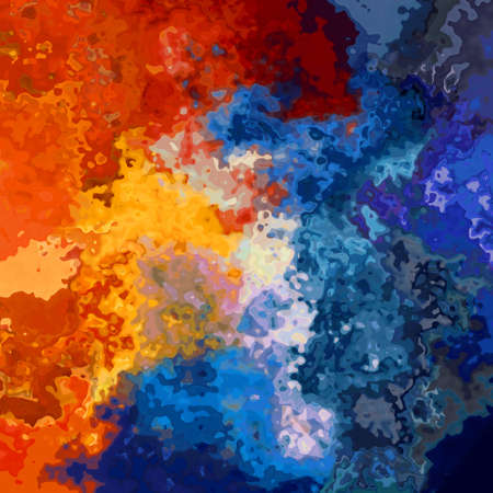 abstract stained pattern texture square background fiery red orange and cold blue color - modern painting art - watercolor splotch effect