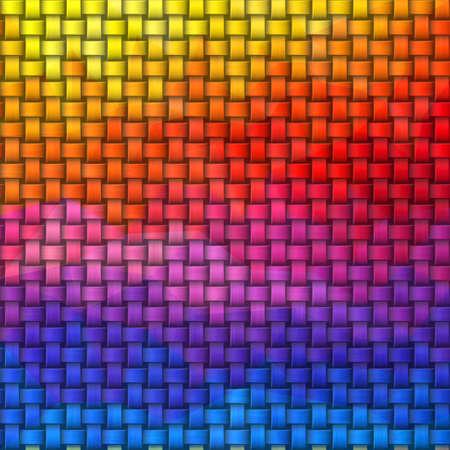 woven rattan wicker weave seamless knit pattern texture background - vibrant horizontal rainbow color spectrum