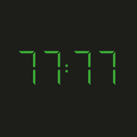 black background of electronic clock with four green numbers and datum 77:77 - repeating seventy seven