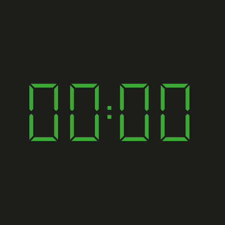 black background of electronic clock with four green numbers and time 00:00 - repeating zero, nil