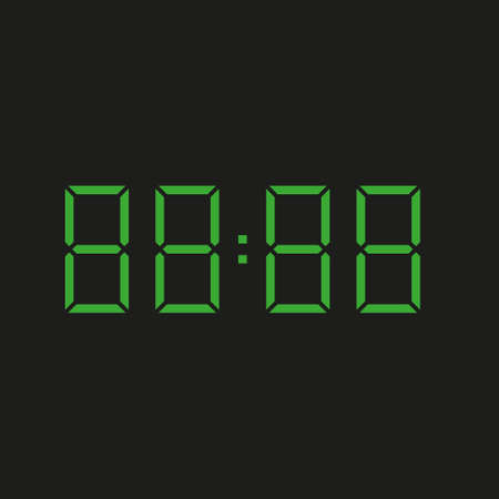black background of electronic clock with four green numbers and datum 88:88 - repeating eighty eight Stock Illustratie