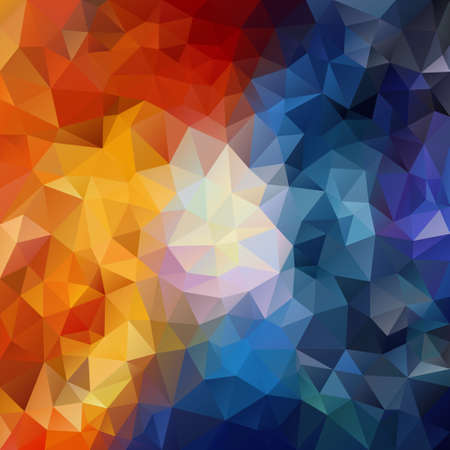 vector abstract irregular polygon square background - triangle low poly pattern - contrast color hot fiery red orange yellow and cold icy blue