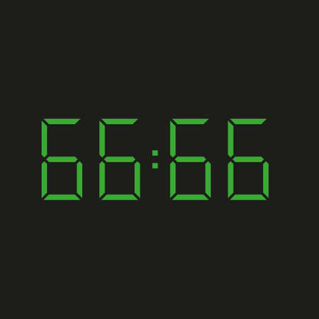 black background of electronic clock with four green numbers and datum 66:66 - repeating sixty six