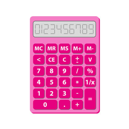retro cute pink calculator with numbers and mathematical symbols - for children in school Stock Illustratie