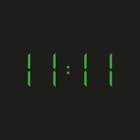 black background of electronic clock with four green numbers and time 11:11 - repeating one, eleven