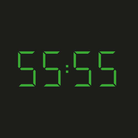 black background of electronic clock with four green numbers and datum 55:55 - repeating fifty five Stock Illustratie